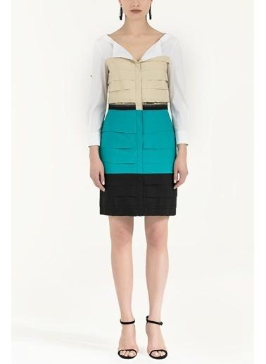 Societa Renkli Poplin Elbise 90653 Yeşil